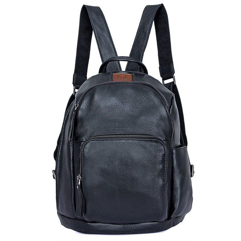 Nesitu haute qualité noir en cuir véritable femmes sacs à dos femme sacs de voyage garçon Grils sac d'école pour 9.7 ''ipad M2010