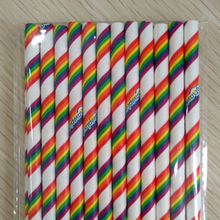 25Pcs Rainbow Stripe Environmental Party Cocktail  Creative Paper Straw For Cake Decoration Disposable Degradable Pipette