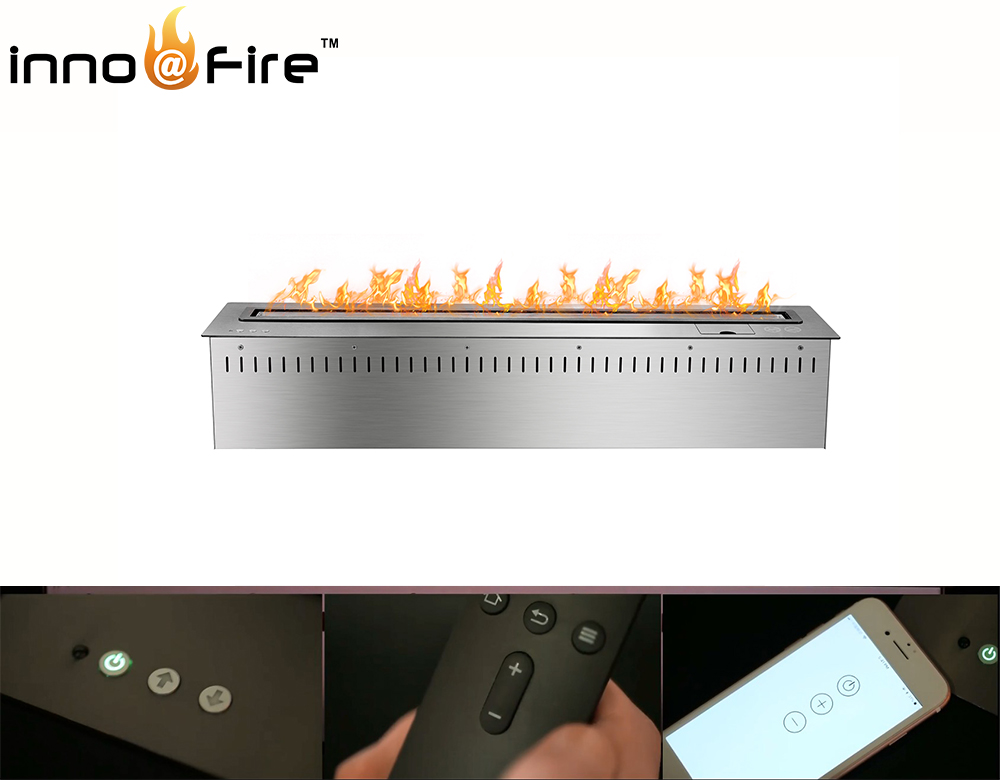 Inno-living 48 Inch Bio Fireplace With  Remote Control Silver/black Ethanol Burner Insert