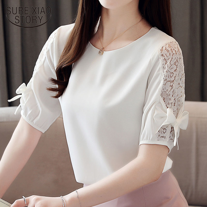 2019 ladies tops white   blouse     shirts   lace   blouse   Fashion women tops and   blouses   harajuku short sleeve bow women   shirt   4140 50