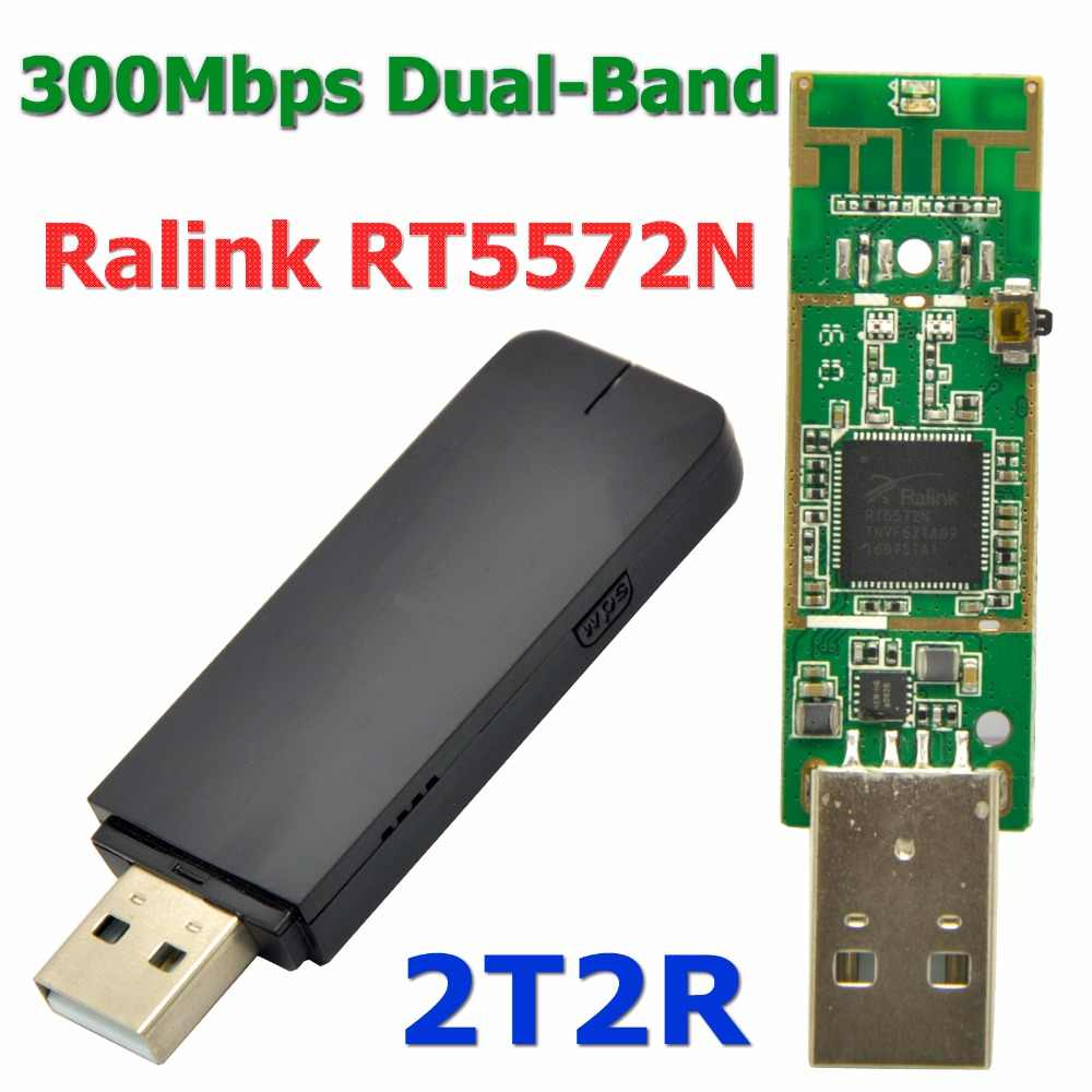 Ralink RT5572 300 Mbps double bande 2.4 GHz + 5.0 GHz sans fil USB WiFi adaptateur Dongle/récepteur Wi-Fi pour MAC/LINUX/Windows 7/8