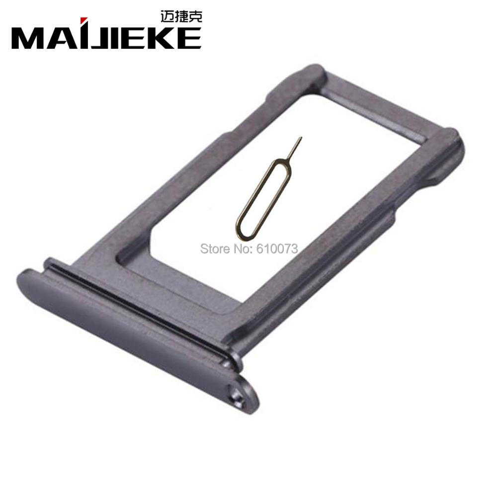 MAIJIEKE New Black Sim Card Tray For iPhone X Sim Card Slot Holder  Replacement Repair Parts+Eject Pin