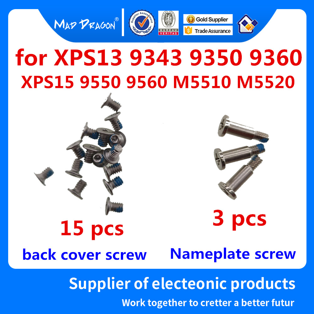 15 Lower Cover Screws / 3 Nameplate Screws For Dell XPS13 9343 9350 9360 XPS 15 9550 9560/Precision M5510 M5520 Silver Screws