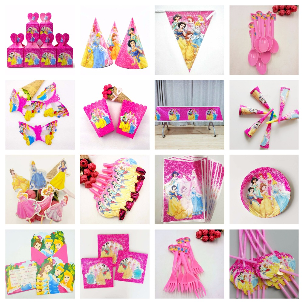 Princess Ariel Snow Queen Baby Birthday Party Decorations Kids Girl Supplies Decoration Tableware Set Favors 1st
