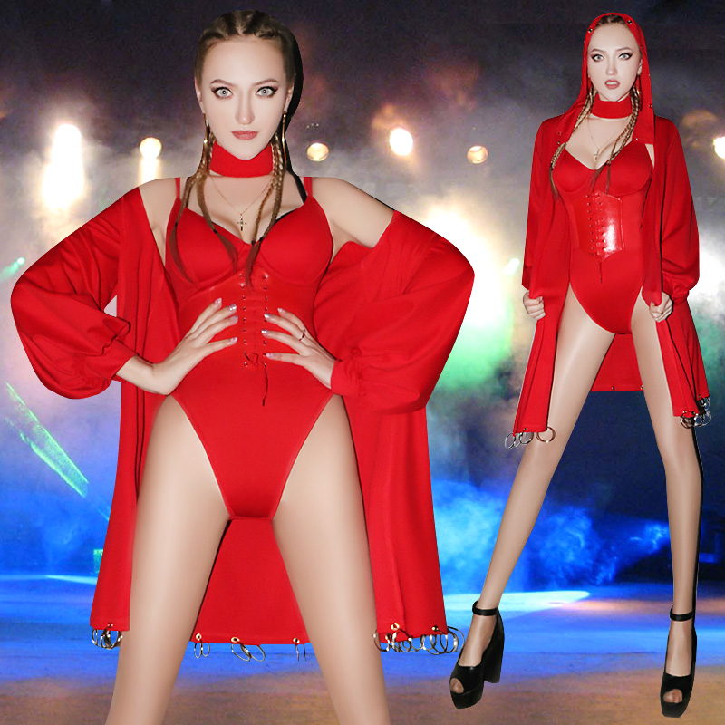 DJ Atmosphere Sexy Nightclub Costumes for Female Singer Bar Ds Show Bodysuit Gogo Lead Dance Red Suit