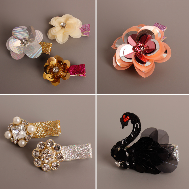 2pcs Hand made Flowers Crown Swan Bee Butterfly Pearl Crystal Hair Accessories Korea Princess Hair Clips Hair Bows Rim Hairpin
