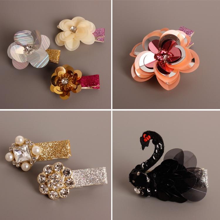 2pcs Hand made Flowers Crown Swan Bee Butterfly Pearl Crystal Hair Accessories Korea Princess Hair Clips Hair Bows Rim Hairpin