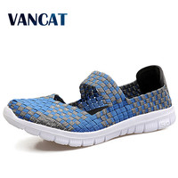 2017 Fashion Womens Weave Shoes Spring Autumn Mixed Color Checkered Breathable Sport Casual Shoes Loafers Tenis