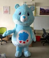 Ohlees Actual Picture My Little Love Blue Care Bear Mascot Costumes Adult Halloween Cartoon Character Outfit