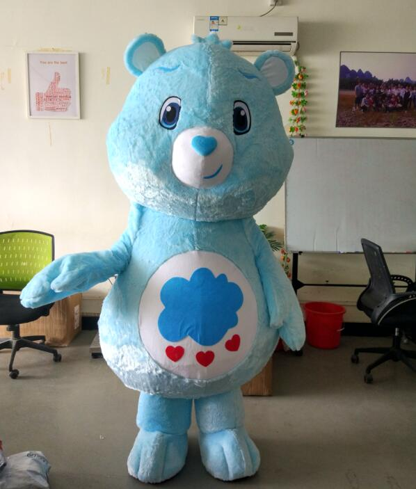 ohlees actual picture my little love blue care bear Mascot Costumes Adult Halloween Cartoon Character Outfit Party