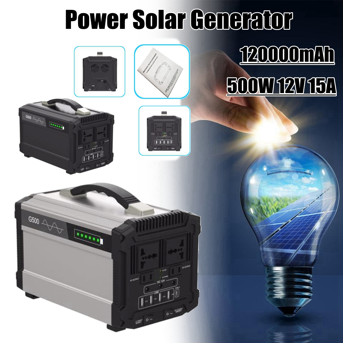 444Wh 120000mAh 500W 12V 15A Energy Storage Home Outdoor Portable Power Solar Generator Faster Charger