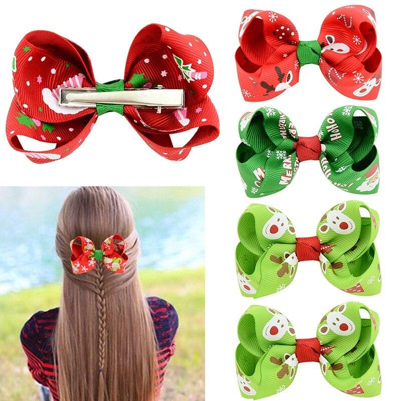 8cm inch Christmas Grosgrain Ribbon Bows WITH Clip Snow Pinwheel Hair Clips Hair Pin Accessories