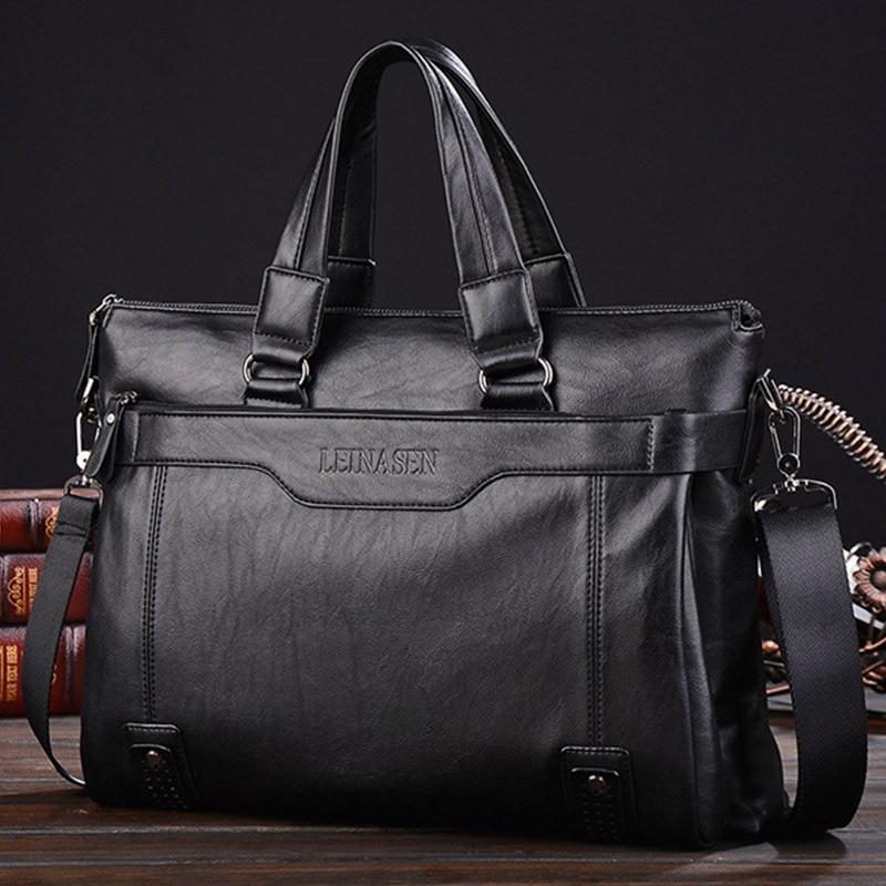 Vintage Briefcase Men Handbag Business Men Messenger Bags Top Quality Male Briefcases Pu Leather Laptop Bag WBS508