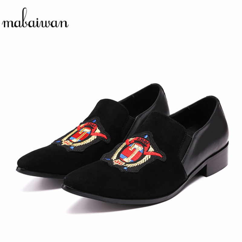 Mabaiwan New Men Shoes Slipper Black Suede Pointed Toe Loafers Wedding Dress Shoes Men's Handmade Leather Flats Plus Size 38-46 christia bella plus size brand embroidery men loafers pointed toe business wedding dress shoes suede leather party formal shoes