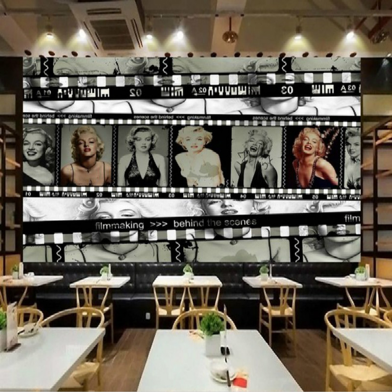 Nostalgic Film Version The Monroe Large 3D Mural 3D Wallpaper Bedroom 12 Square Meters(width=4m,height=3m) Free Shipping By EMS