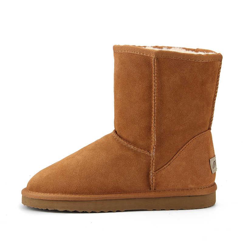 JXANG עור אמיתי באיכות גבוהה אוסטרליה קלאסי פרווה שלג מגפי נשים מגפי נעלי חורף נשים מגפי גודל גדול