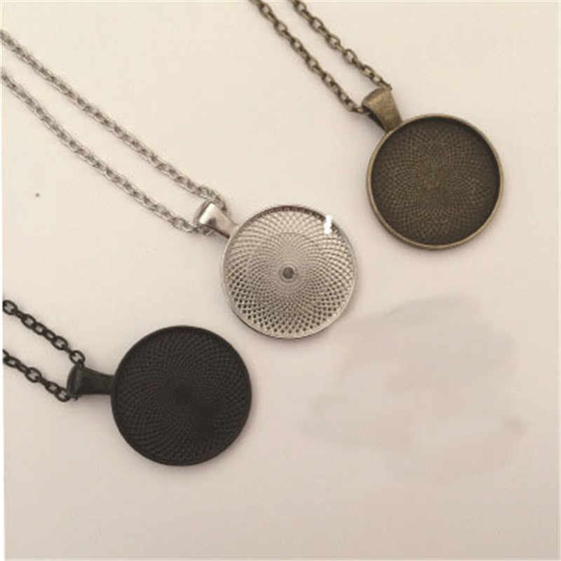 5Pcs 25mm Chain Pendant Necklace Base Setting DIY Cabochon Cameo Tray Bezel Blank Lobster Clasps Chains Necklace Jewelry Making