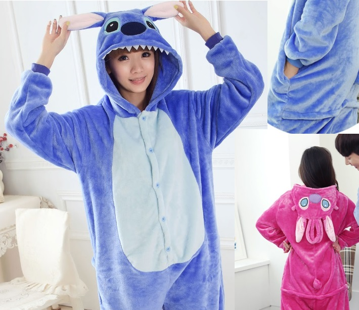 bfbabbada95c Free shipping Adult Kawaii Anime Blue Pink Stitch Onesie adults Lilo And Stitch  Pajamas Party Dress Cosplay Costume Pajamas