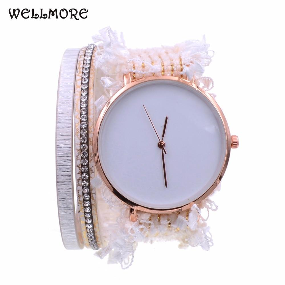 WELLMORE beige lace ribbon watch Changing color in the sunshine fashion&casual quartz Wrist watches Bohemia bracelet watch women women quartz watch with cartoon ribbon