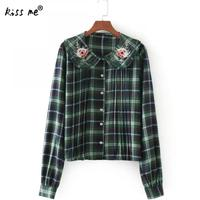 Embroidery Floral Long Sleeve Women Blouses And Shirts Green Female Ladies Casual Plaid Shirt Women Tops