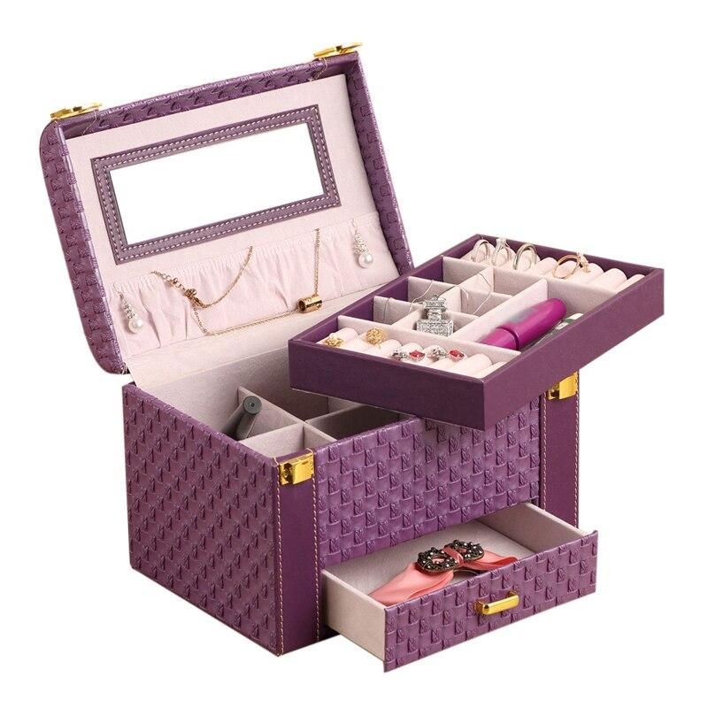 Multi-couche femmes boîte à bijoux tiroir boucles d'oreilles collier anneaux Bracelet organisateurs avec miroir cas filles voyage cosmétiques sac à main