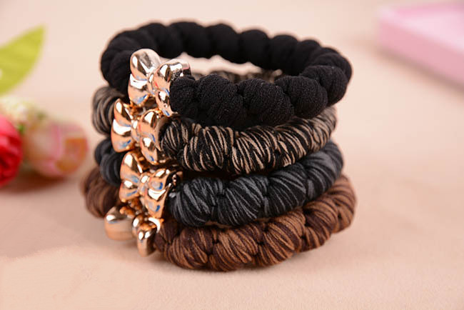 10pcs/lot Gold Plated Bowknot Button Big Black Elastic Ponytail Holders Hair Accessories Cute Girl Women Rubber Bands Tie Gum triton мебель для ванной triton кристи 70 r