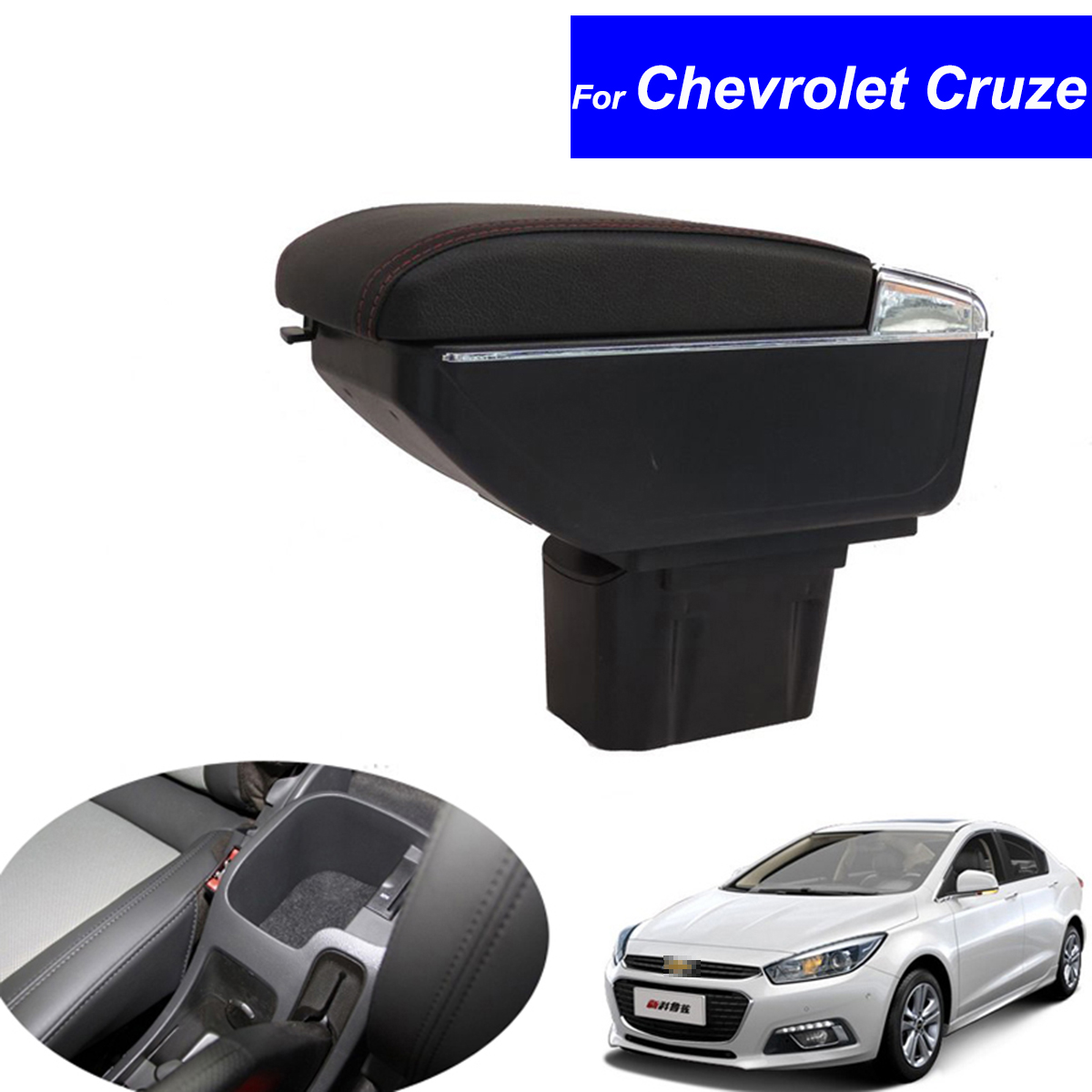 Leather Car Center Console Armrests Storage Box for Chevrolet Cruze 2012 2013 2014 2015 2016 Auto Armrest with USB Free Shipping for chevrolet cruze battery fuse box sheet auto parts