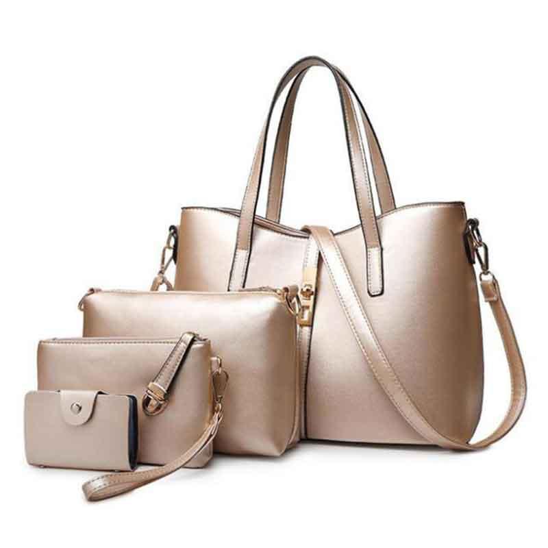 New Arrival 4pcs/set Composite Bags Women Bag Luxury Gold Handbags And Purse Sets Ladies PU Leather Crossbody Bag Bolsa Feminina coofit luxury composite bag set women
