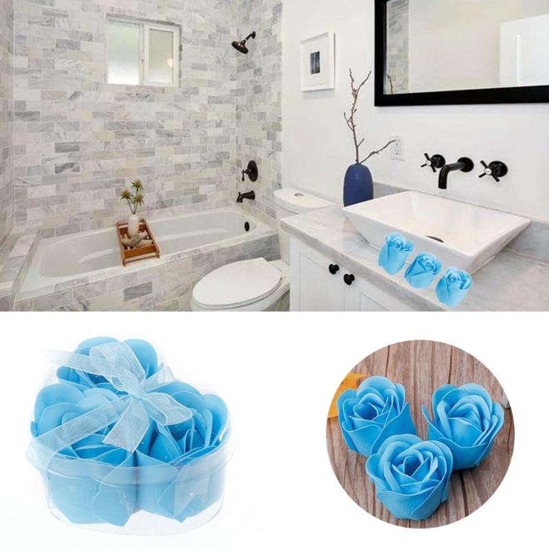 3Pcs/Set Rose Petal Flower Scented Bath Soap + Heart Shape Box For Wedding& Festival Gift