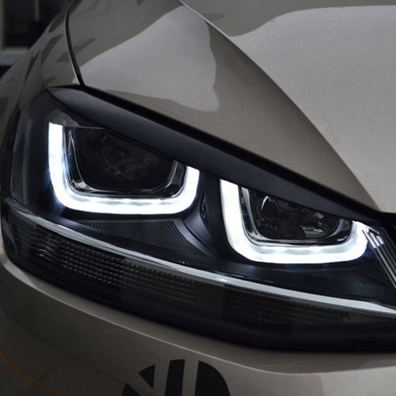 Carmonsons 2 pcs Headlights Eyebrow Eyelids ABS Chrome Trim Cover for Volkswagen VW Golf 7 MK7 GTI R Accessories Car Styling