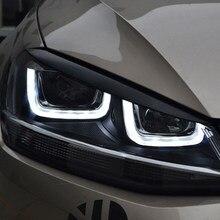 Carmonsons 2 pçs faróis sobrancelha pálpebras abs chrome guarnição capa para volkswagen vw golf 7 mk7 gti r acessórios do carro estilo