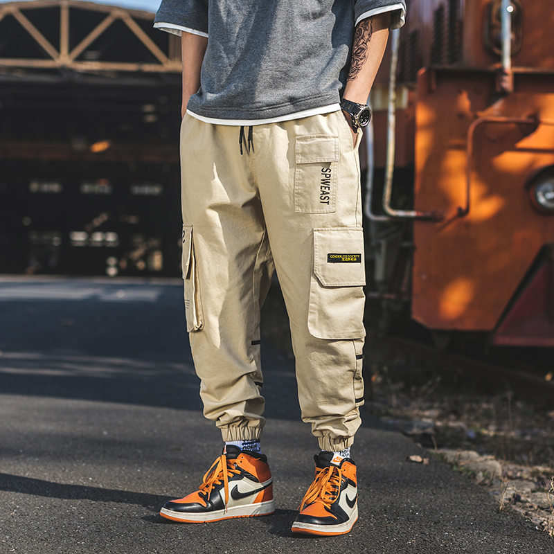 High-quality Cargo Pants Men Cotton Many Pockets Man Casual Trousers Black Orange Baggy Pants Jogger Trousers 2019 Spring A918