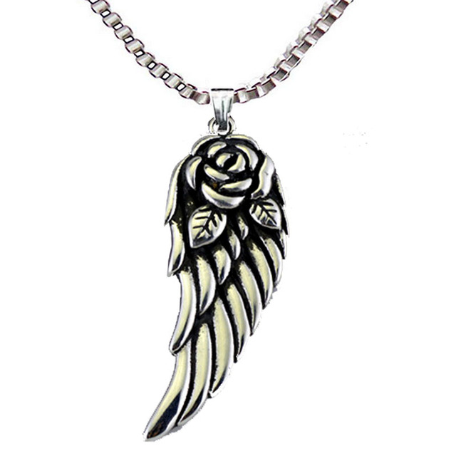 Stainless steel angel wings pendant necklace retro charms rose stainless steel angel wings pendant necklace retro charms rose wing punk style fashion jewelry wholesale aloadofball Choice Image