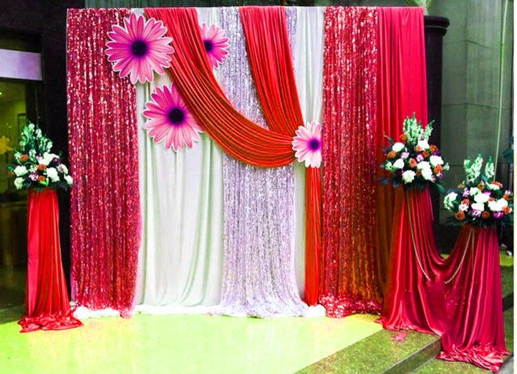 Livraison gratuite toile de fond de mariage brillant cabine Photo toile de fond or Sequin tissu or rideau de mariage avec Swag détachable