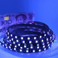 Tira de luzes LED UV 5050, SMD 60 leds/m 395 405nm LED com raio ultravioleta faixa roxa flexível para DJs