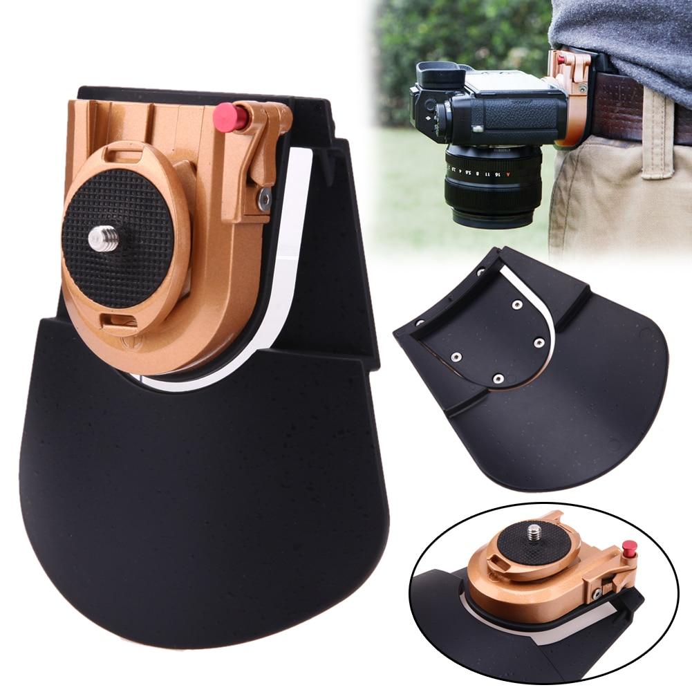 Ceinture de caméra étui Clip taille titulaire PE + ABS + métal Clip de fixation rapide plaque pour 1/4 ''Pro DSLR vidéo appareils photo numériques