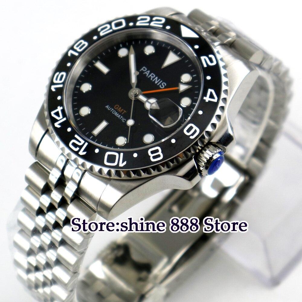 40mm PARNIS schwarz zifferblatt keramik lünette GMT Sapphire glas automatische herren uhr-in Mechanische Uhren aus Uhren bei  Gruppe 1