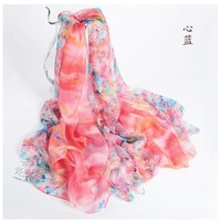 The hot sale is 100% pure silk long towel painting mulberry silk scarf long scarf heart blue