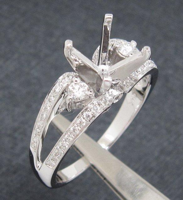 Joyería al por mayor, 6.5mm Ronda 14kt Oro Blanco Diamante Natural y Sólido Anillo de Compromiso de Montaje Semi