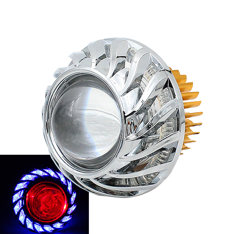 12V-85V Built-in Double Circle Fashion Cool LED Headlamp Internal Motorcycle Devil Eyes