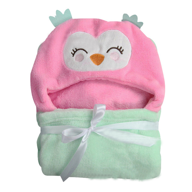 Cute Cartoon Baby Coral Fleece Blankets Wrapped Wind Cloth Towel Newborn Baby Sleeping Bag Swaddling Fleece Blanket Bedding