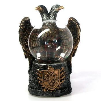 Two Headed Eagle Statue With Plasma Ball Bald Eagle Figurine Sculpture