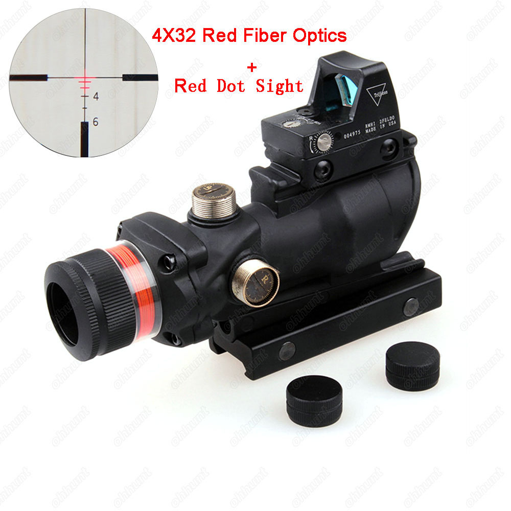 Tactical ACOG 4X32 Red Fiber Optics Riflescope with RMR Red Dot Sight Weaver Picatinny Standard Rail for Airsoft Rifle Scope