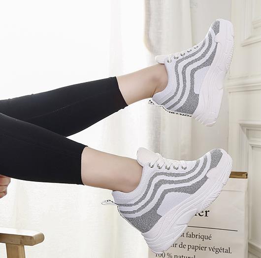 2019 Printemps Cm De Haute Automne 12 Mode Hauteur Mesh Marche Augmentation Chaussures gris Talons Noir Air Plate Loisirs La Femmes forme rrYdUw