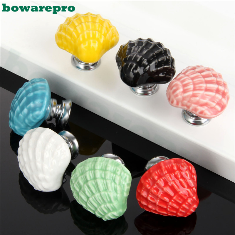 7PCS Shell Nautical Door Knobs Ceramic Handles Cupboard Cabinet Drawer Furniture Cartoon Cupboard Cabinet Handle Pull Children