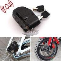 8mm Siyah Motosiklet Bisiklet Bisiklet Scooter Tekerlek Disk Fren Kilidi Alarm Güvenlik Elektronik Oto-Kol 100dB Ücretsiz Kargo