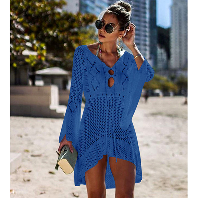 Long Sleeved Pareo Crochet Beach Cover Up 5