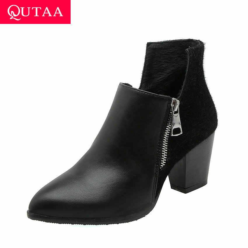 QUTAA 2020 Patchwork At Kılı PU Deri Moda Kadın Ayakkabı Kalın Topuk Sivri Burun Fermuar Tüm Maç yarım çizmeler Boyutu 34- 43