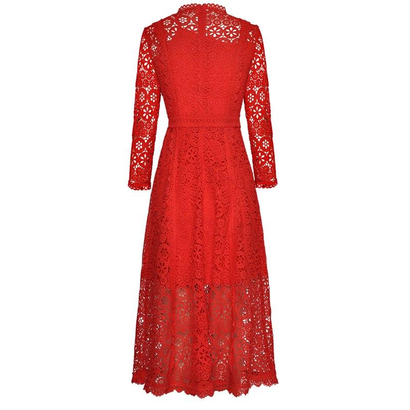 Femmes ligne De Soirée Taille Couleur A Chaude Manches Robes Robe Z114 Bal Évider Dentelle red Vente Solide Haute Longues Sexy Black wSZz47xxq