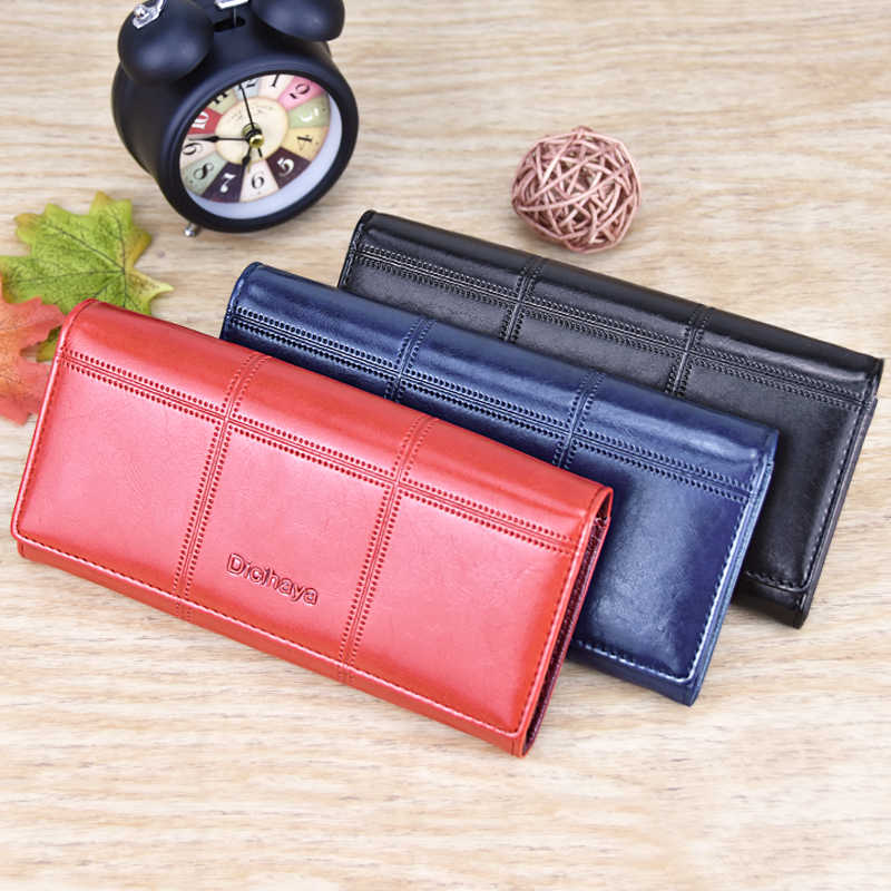 DICIHAYA кожаный женский кошелек, клетчатая длинная дизайнерская сумочка-клатч, женские сумки-клатчи с пряжками, многофункциональные кошельки 505912-1